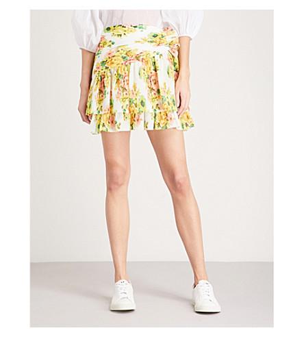 ZIMMERMANN Golden Surfer plissé mini skirt (Citrus+stamp+floral
