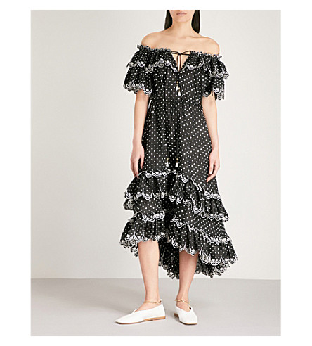 ZIMMERMANN Jaya polka dot linen dress (Black+/+cream
