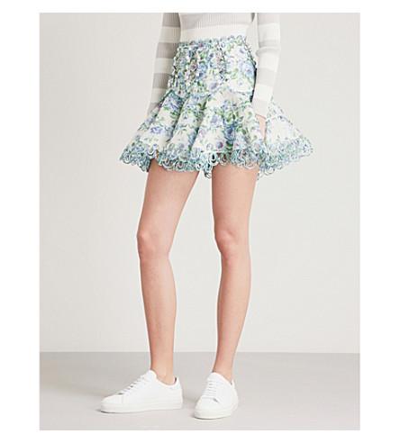 ZIMMERMANN Whitewave floral-patterned linen skirt (Azure+wallpaper+floral