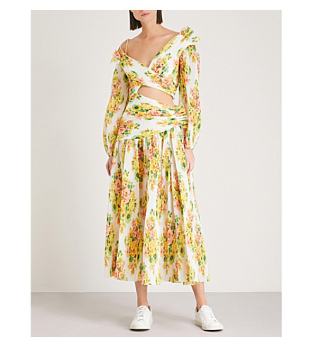 ZIMMERMANN Golden Surfer plissé dress (Citrus+stamp+floral