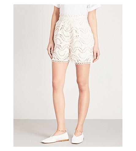 ZIMMERMANN Jaya Wave scalloped high-rise cotton shorts (Ivory