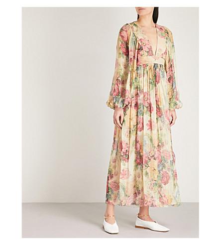 ZIMMERMANN Melody floral-print silk-chiffon dress (Taupe+floral