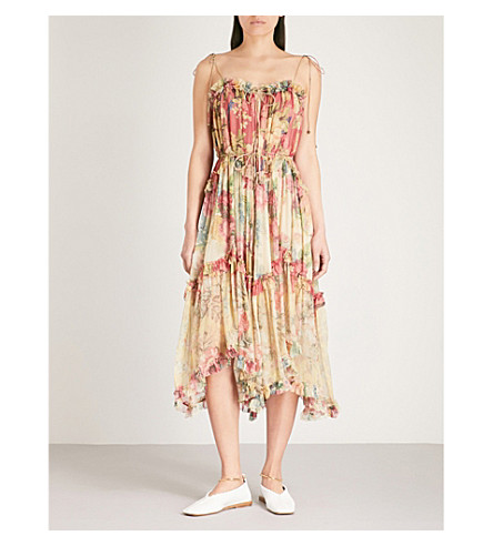 ZIMMERMANN Melody Floating silk-georgette midi dress (Splice