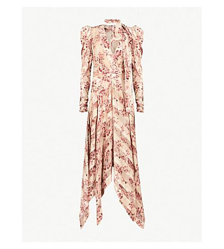 ZIMMERMANN Unbridled Chevron silk midi dress (Sand+flrl