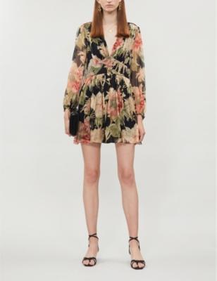 Espionage floral-print silk-crepe playsuit