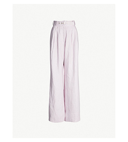 ZIMMERMANN Corsage belted high-rise wide linen pants (Orchid