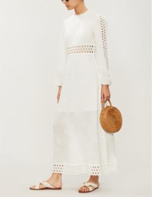 Verity long-sleeved linen maxi dress