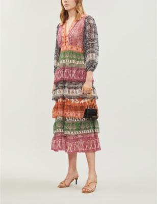 Amari printed cotton-and-silk blend crepe dress