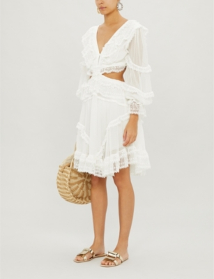 Suraya cutout lace-trimmed flocked silk dress