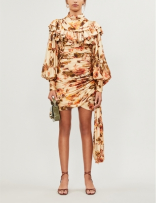 Floral-print silk-satin dress