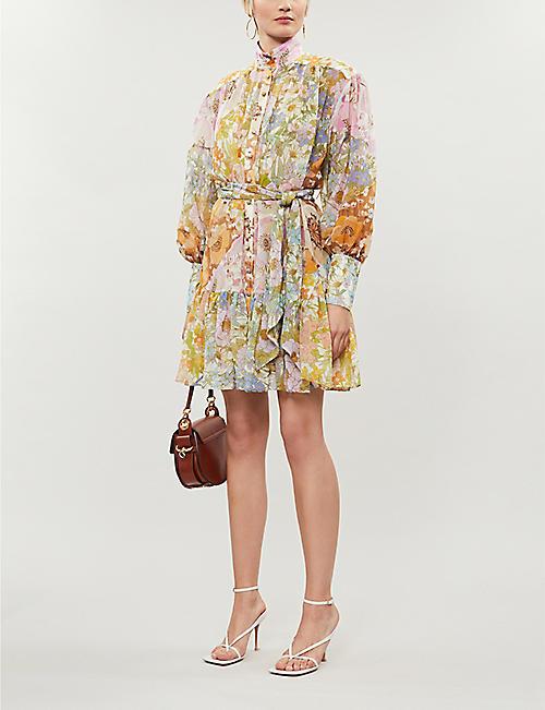 ZIMMERMANN Super Eight balloon-sleeve cotton and silk-blend mini dress