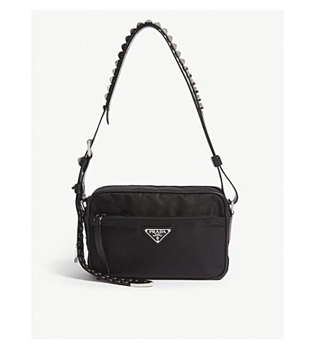 PRADA Studded strap nylon shoulder bag (Black/silver