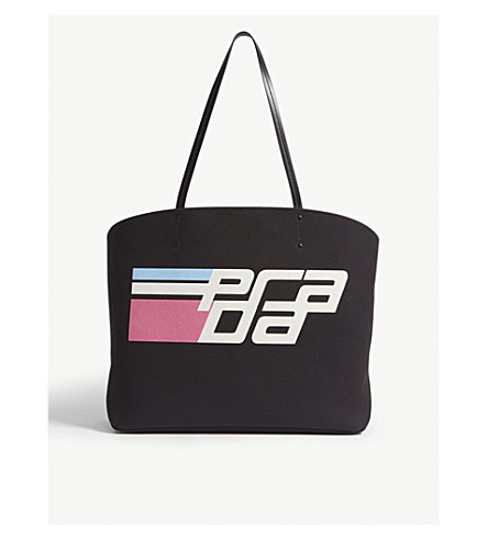 PRADA Racing logo cotton tote (Black/white