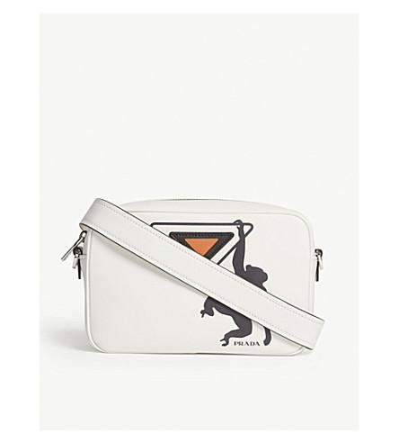 PRADA Monkey leather shoulder bag (White/black