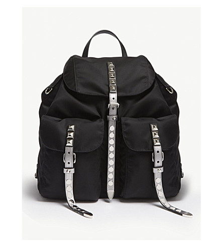 PRADA Nylon studded backpack (Black/silver