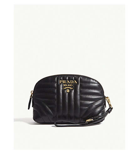 PRADA Logo quilted leather pouch (Black/gold