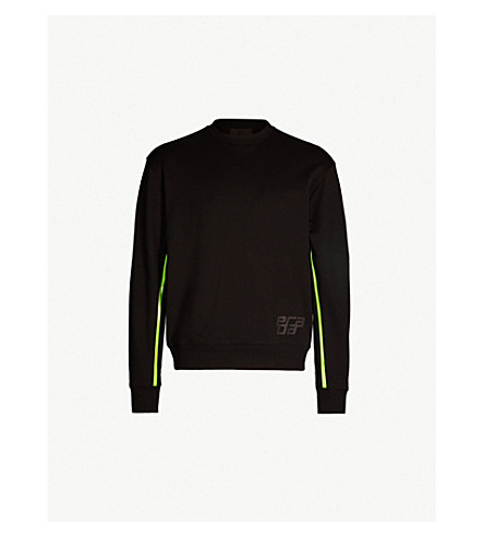 PRADA Side-stripe cotton sweatshirt (Nero
