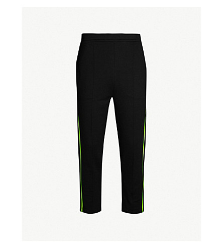 PRADA Neon stripe cotton-jersey jogging bottoms (Nero
