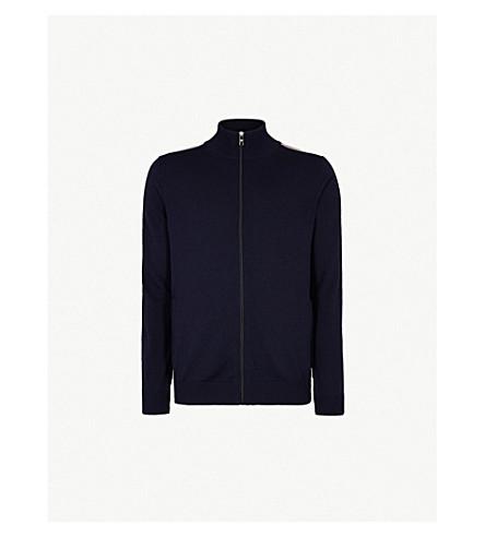 PRADA Side-stripe wool tracksuit cardigan (Bleu