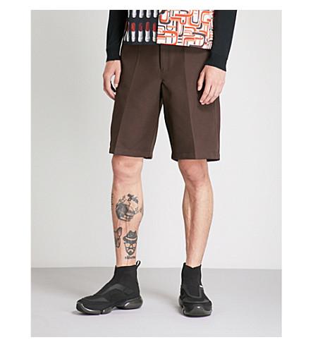 PRADA High-rise wide woven shorts (Brown