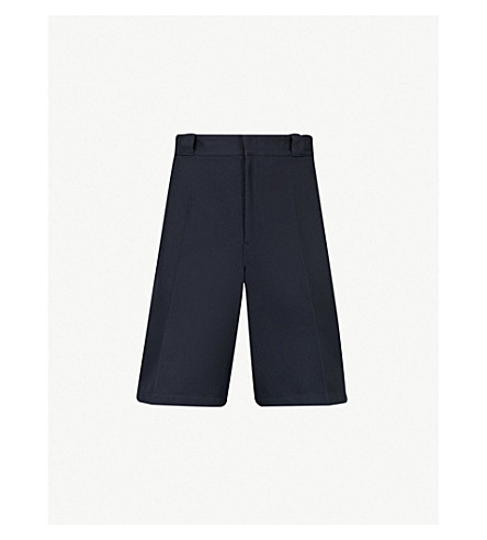 PRADA High-rise wide woven shorts (Navy
