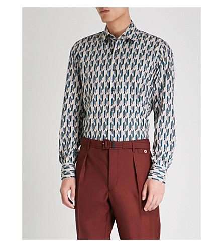 PRADA Geometric-print regular-fit cotton shirt (Nube