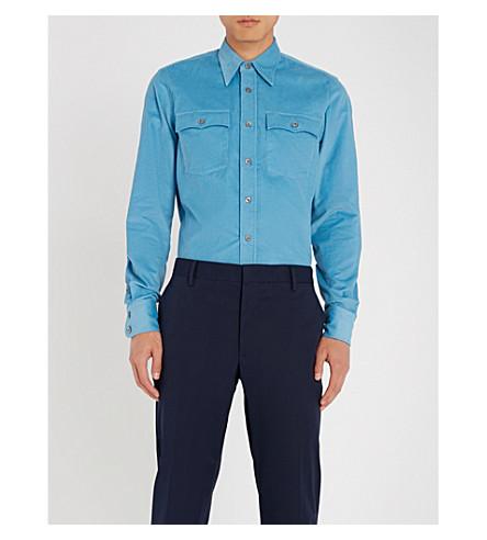 PRADA 常规版型灯芯绒衬衫 (Azzurro