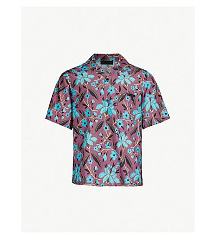 PRADA Floral-print oversized pongee shirt (Amarena