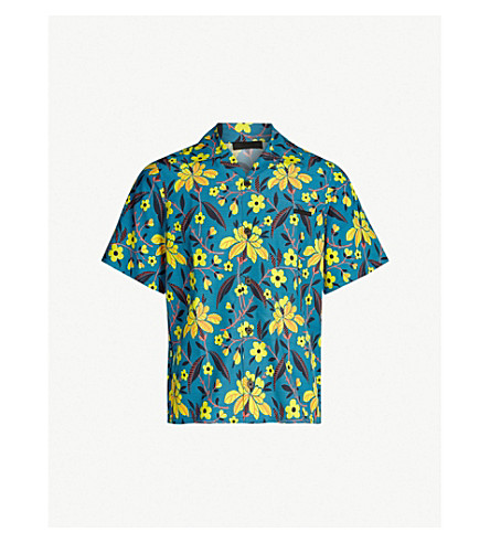 PRADA Floral-print oversized pongee shirt (Blue