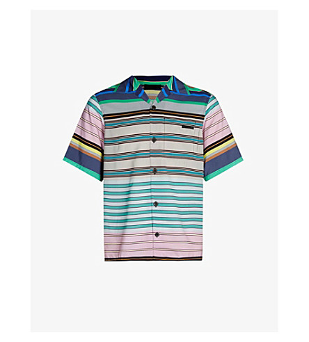 PRADA Striped oversized pongee shirt (Grey