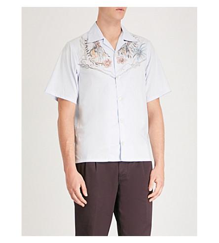 PRADA Western-print boxy-fit cotton shirt (Celeste