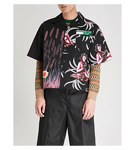 PRADA Contrasting prints regular-fit cotton shirt (Black+pink