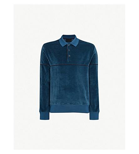 PRADA Contrast-piped velvet polo shirt (Aviazione