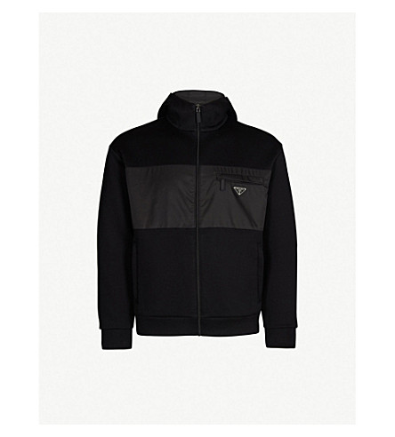 PRADA Cotton-blend and shell hooded jacket (Nero