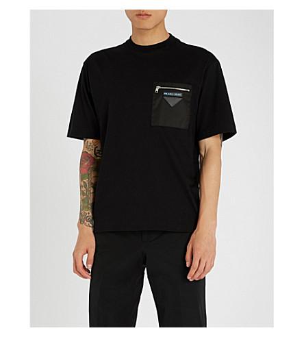 PRADA Pocket-embellished cotton-jersey T-shirt (Black