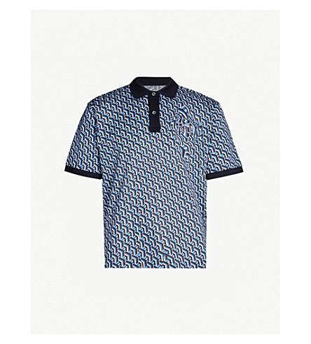 PRADA Geometric-patterned cotton-piqué polo shirt (Pervinca