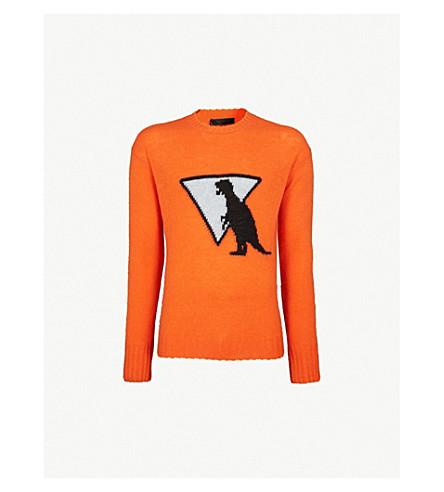 PRADA Dinosaur-intarsia wool sweater (Orange