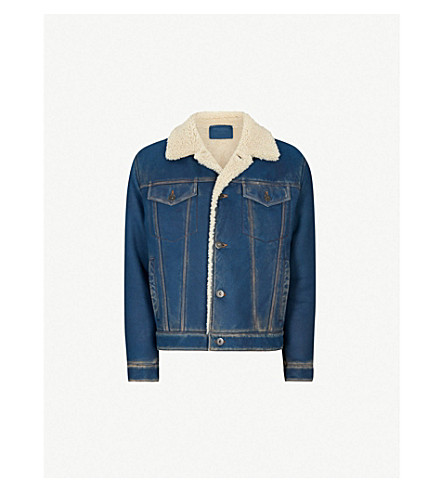 PRADA Denim-effect shearling jacket (Denim