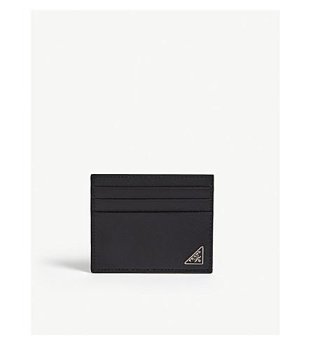 PRADA Saffiano 皮革卡夹 (黑色
