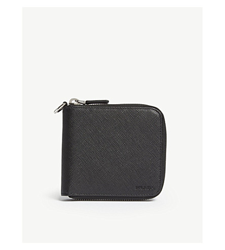 PRADA Saffiano 皮革方钱包 (黑色
