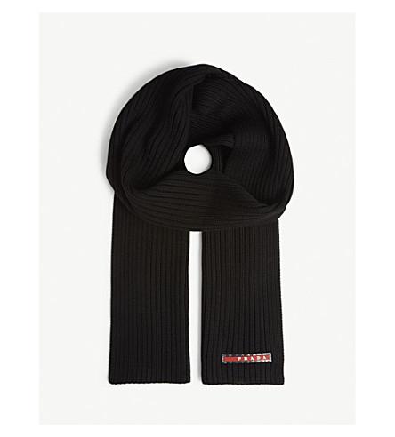 PRADA 标志针织羊毛围巾 (黑色