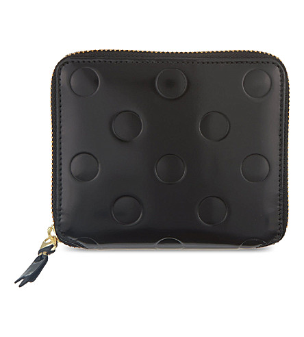 COMME DES GARCONS Polka embossed leather wallet (Black