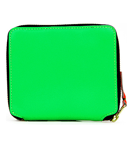 COMME DES GARCONS Fluorescent full-zip wallet (Green