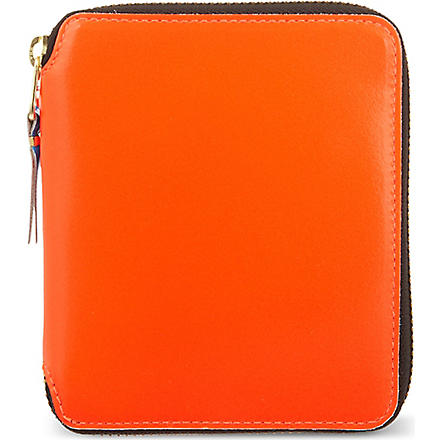 COMME DES GARCONS Superfluorescent zip around leather wallet (Orange