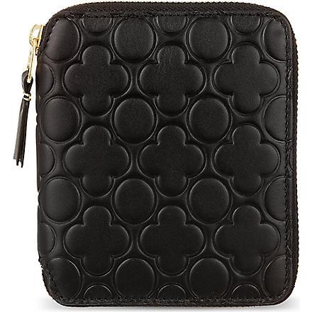 COMME DES GARCONS Zip around embossed leather wallet (Black
