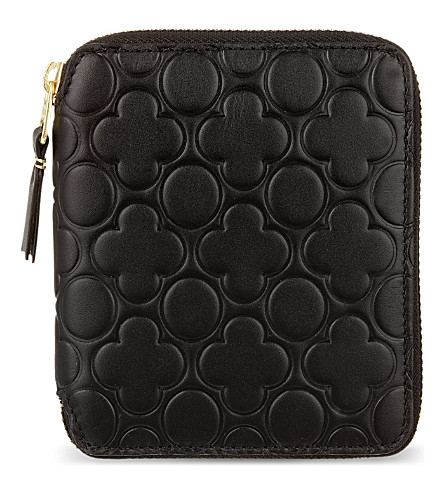 COMME DES GARCONS Zip around embossed leather wallet (Black
