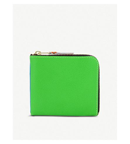 COMME DES GARCONS Super fluorescent leather half zip wallet (Blue