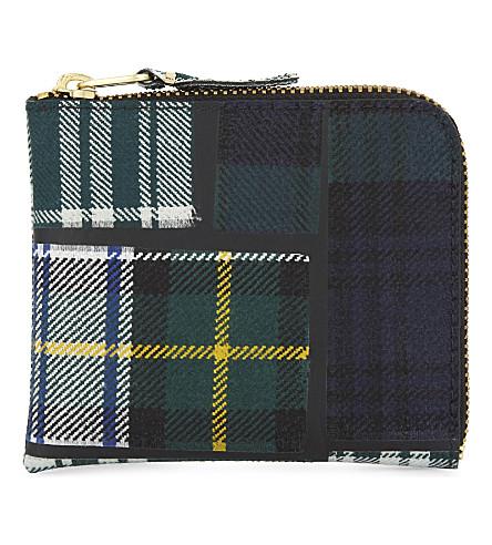 COMME DES GARCONS Tartan half zip wool wallet (Green