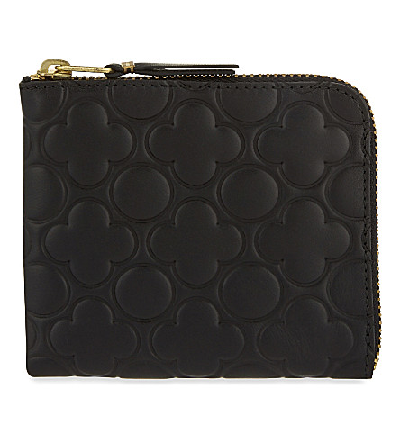 COMME DES GARCONS Embossed leather half-zip wallet (Black
