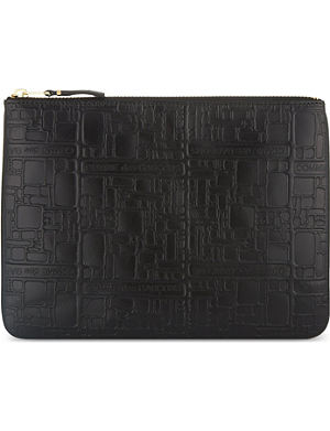 COMME DES GARCONS Embossed leather logo pouch